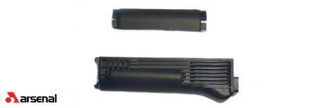 Black Polymer Handguard Set with Stainless Steel Heat Shield for Stamped Receivers
