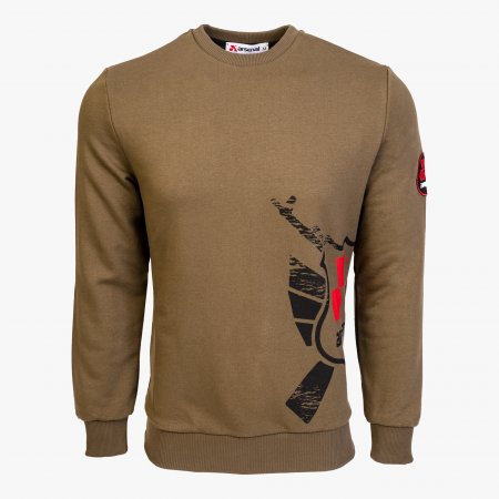 Khaki Cotton-Poly Standard Fit Alpha Pullover Sweater