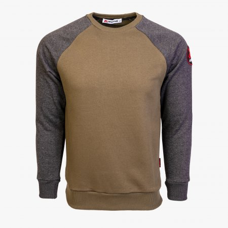 Grey / Khaki Cotton-Poly Standard Fit Icon Pullover Sweater